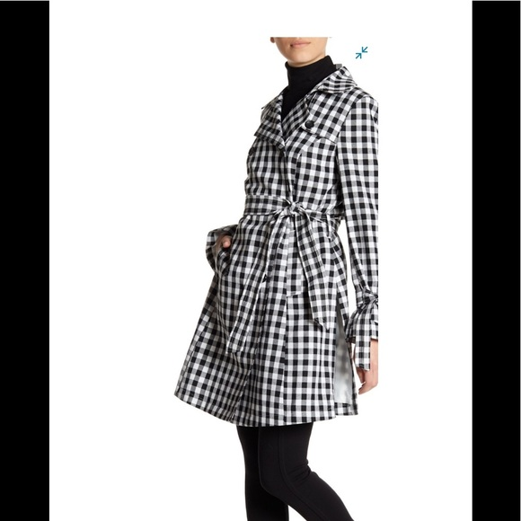 French Connection Gingham Print Trench Coat Sz S